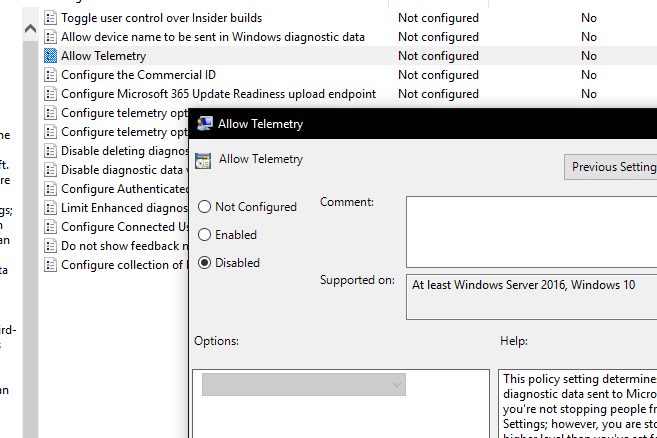 disable microsoft telemetry